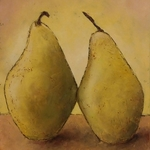 yellow still life with pears By Larysa Uvarova