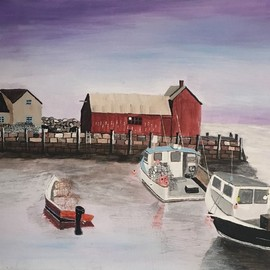 Carl Wilson: 'wharf', 2018 Acrylic Painting, Sea Life. Artist Description: Painting of sunset at the wharf. ...