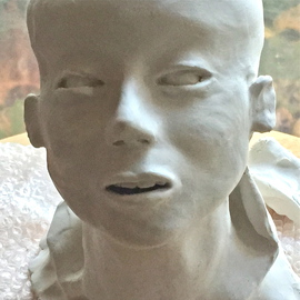 Luise Andersen: '2016 August 12  VII ', 2016 Clay Sculpture, Abstract Figurative. Artist Description:  August 12, 2016. .  worked on eyes. . teeth. . mouth. . neckline. . started adding clay for shoulder. . reduced size of head. . still need to work more on that one. . very nice flow in back of neck too. . see thumbprints. . . . nights seem so very long. . but when sun rises . . seems to be ...