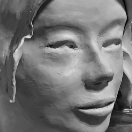 Luise Andersen: '2016 JULY 22 Continuance  LARGER SCULPTURE  ', 2016 Clay Sculpture, Abstract Figurative. Artist Description:  July 22, 2016 aEUR|. fingers  work on eyes. . lips. . expressionaEUR|will get more clay, so I can decide, if hair, veil, or hooded. . scarf, , . hmmm. . will see. . would want to be symbolic of voice. . ...