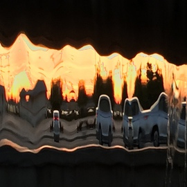 Luise Andersen: '2016 Sunset In Fountains Series Feb 22', 2016 Color Photograph, Abstract. Artist Description:   UNALTERED series aEUR|images captured at sunset time. . through sheaths of falling waters. . evening trafficaEUR|see car lights, traffic lights, colors of vehicles, houses, grasses, trees, and of course waters. . their brilliant facets and abstractness. . bizarre surreal world. . in glowing sunset. .love the experience. . addicted to hues. . forms. . figures. . ...