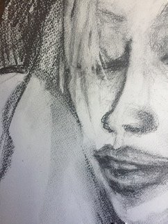 Luise Andersen: '2 blck on whte feb15 2018', 2018 Graphite Drawing, Fantasy. Artist Description: this is detailpart of , of drawing. last night and in morning today, worked more on this quite nice graphite drawing . still a way to go to get the expression way i have in my head somewhere. . hand just needs to continue the feel. . eyes bit heavy . . so this ...