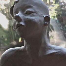 Luise Andersen: 'August 29 2016 from charcoal to Sculpture I', 2016 Clay Sculpture, Abstract Figurative. Artist Description: 2016, August 29- reached for smaller sculpted head, after noticed, needed changes. . due to not baking, and hot climate, it just looked in feel expression not as strong, as I wanted anymore. . so. . downstairs we went. . and soon as I had the chance to sculpt. . I began. . and ...