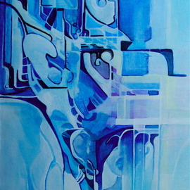Luise Andersen Artwork BLUE And Hues With Light Change I  June Sixteen, 2008 Acrylic Painting, Outsider