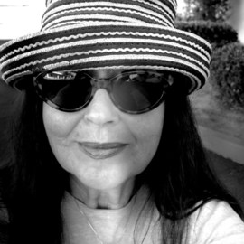 Luise Andersen: 'Back from Morning Walk II', 2011 Black and White Photograph, Portrait. Artist Description:  Getting warm in Southern California. . since is couple of Miles walk, sun burns on hair/ head. . so throw this one on or other hat. . sunglasses. . bunch of sunscreen. . always red lipstick. . and still' fry' . . gheesh. . . . converted from color to black and white/ grey. . will upload colored ones another ...