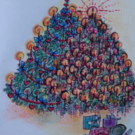 Luise Andersen Artwork CHRISTMAS TREE CARD  NO FOUR  Series, 2009 Other Drawing, Trees