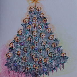 Luise Andersen Artwork CHRISTMAS TREE CARD  NO THREE Series, 2009 Other Drawing, Trees