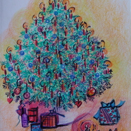 Luise Andersen Artwork CHRISTMAS TREE CARD  NO TWO Series, 2009 Other Drawing, Trees