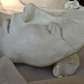 Luise Andersen: 'Dearlings  thousands of faces IB MAI 2015', 2015 Clay Sculpture, Abstract. Artist Description:  May I, 2015- side view of sculpture in continued progress. . ...