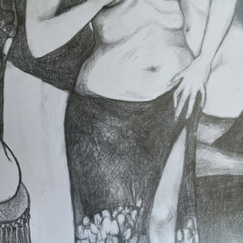 Luise Andersen Artwork Detail Two JUNE 3 2015 continuance, 2015 Graphite Drawing, Abstract Figurative