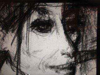Abstract Charcoal Drawing by Luise Andersen Title: Drawing IV  Words DETAIL JULY 24 2014, created in 2014