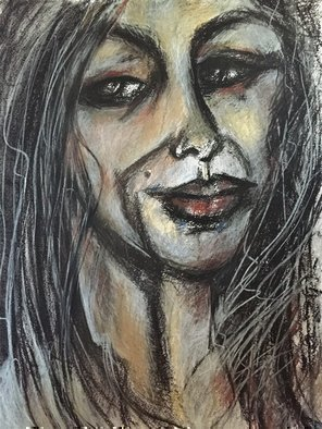 Luise Andersen: 'Express FEEL  In Black On White Now Color too I  September 13 2015', 2015 Pastel, Abstract. Artist Description:  reached for hard pressed chalk pastels.  now crave a special blue. . and red. . do not have. . so. . this is IT for now. ...