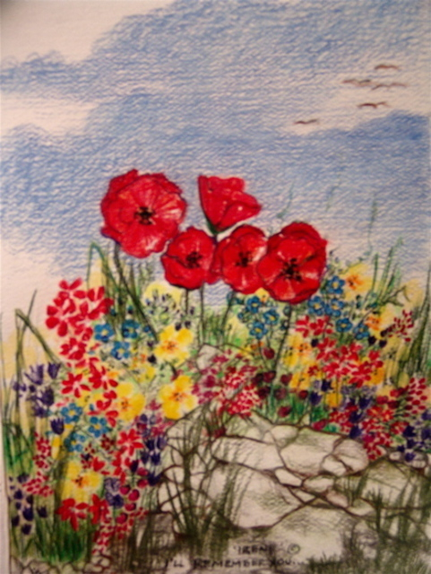 Luise Andersen  'I WILL REMEMBER YOU POPPIES Large Card For Irene  ', created in 2007, Original Fiber.