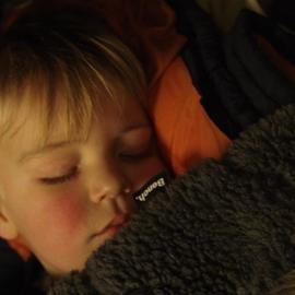 LITTLE BOY ASLEEP On Train In Germany