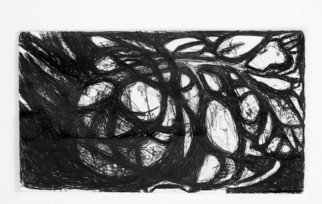 Luise Andersen: 'Miniature ArtDoodle I', 2011 Pen Drawing, Abstract.  . . in waiting room. . and had these small 3 x 4 inches envelopws with me. . took my ball point pen. . and started drawing a beautiful tree. . with rocks. . etc. etc. . real nice. . guess. . waiting was longer. . the image changed into this 'under the pen' . . upload for the' record' . . kind of like...