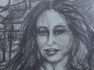 Pencil Drawing by Luise Andersen titled: Night Flight series ENCORE detail II, 2014