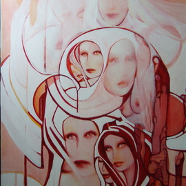Luise Andersen Artwork ORANGE  Update I Oct TWTONE, 2008 Acrylic Painting, Surrealism