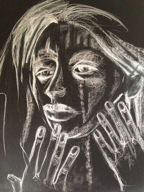 Abstract Charcoal Drawing by Luise Andersen Title: October 7 2014 FEEL ON BLACK I, created in 2014