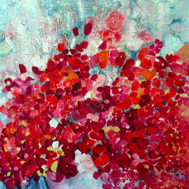 Luise Andersen: 'PETIT PLAISIR  Update DecSvntn', 2008 Oil Painting, Floral. Artist Description: . reds. . mixed. . placed next to each other in forming petals, blossoms. . touch of feel. . presence. . dimensions. . yellows. .whites. . magentas- - orange hues. . to apricot and peach, brilliant in colors. .if it will stay this way. . will see.. might get carried away with softening in whites. . greys. . however I feel ...