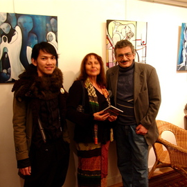 Paris  Series  Taking Pose At Inauguration Of Solo Exhibit