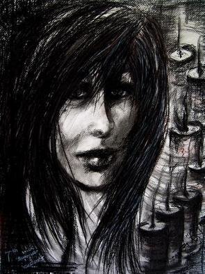 Artist: Luise Andersen - Title: SEVENTH WICK BURNING - Medium: Charcoal Drawing - Year: 2005