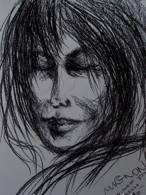 Luise Andersen: 'WIND  SWEPT YOU ACROSS MY MIND', 2006 Charcoal Drawing, Other. Jn. 22, 2006- - Stormy. . . .  Was Out . .  Returned To The House. . .  Still In My Coat, Reached For The Charcoals. . Hit By Strong' Lonely' Feeling. .  Drew It On This White Watercolor Paper. .  Consciously Not Aware What' Inside' Recognized. . .  I Guess. . . . . . . I Was' Somewhere Else'  While Drawing- - - - -  Left From There, With' Essence' . . . . . . .  Smiling. . . . . . . . . . . . . . . . . . . . . . . . . . ....