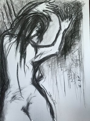 Abstract Charcoal Drawing by Luise Andersen Title:  IN BLACK ON WHITE I JUNE 12 2015, created in 2015