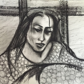 Luise Andersen Artwork  WAIT  charcoal IMIG, 2015 Charcoal Drawing, Abstract