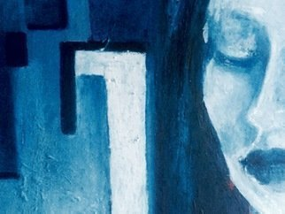 Luise Andersen: 'back to blue stage 7 detail 4', 2019 Oil Painting, Fantasy. Artist Description: April 1,2019- . . i view in between for longer time. . focus on detail of expressions and colors  voice. . must  resonate  just right and true with creative energy. . ...