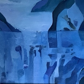 Luise Andersen: 'back to my b l u e 28 august', 2019 Oil Painting, Fantasy. Artist Description: morning of Wednesday, 28th of August 2019- i painted most of yesterday. . this is detail of painting. up to now i really very much liked e a c h version. . entranced by this one. will see where layering of transparent applied nuances lead me today. . i might alter  ...
