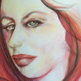 Luise Andersen Artwork detail I start with lines JULY 12 2015, 2015 Pencil Drawing, Portrait