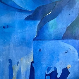 Luise Andersen: 'detail of back to my blue 1', 2019 Oil Painting, Fantasy. Artist Description: October 29,2019- . . since camera did not catch the closest to original colors taking the whole picture. . i took details of this work which show close to original hues. carried the for me larger painting - i am a short person and canvas is 36 inches wide. . towards terrace  ...