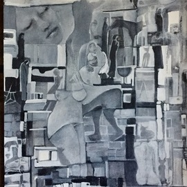 Luise Andersen: 'details of stage 19', 2017 Acrylic Painting, Abstract. Artist Description: November 21, 2017-  . . with white charcoal pencil eliminated some forms . . created others. . throughout this beautiful work. later on, paint over these areas with glazes of acrylic  paint.  All the best for You. Peace. ...