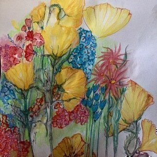 Luise Andersen Artwork express with flowers i, 2017 Watercolor, Floral