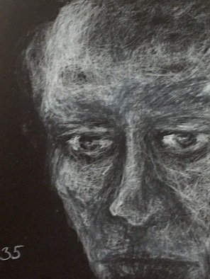 Luise Andersen: 'page 35 stage 2', 2018 Charcoal Drawing, Other. Artist Description: June 20,2018-  started this work late morning. . use pressed charcoal stick on black art paper in sketchbook. ...