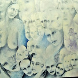 Luise Andersen Artwork rework of Les Regards Des Autres, 2011 Oil Painting, Other