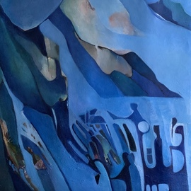 Luise Andersen: 'september 6 back to my blue', 2019 Oil Painting, Fantasy. Artist Description: painted mostly all day yesterday . . this is left side detail of my oil painting . . right side i worked on too. need to wait with continuance until oils settle enough. . ...
