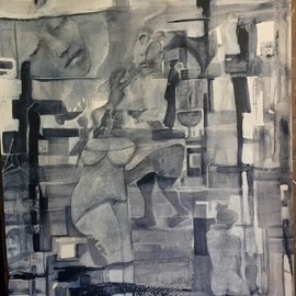 Luise Andersen: 'stage 10 payne s gray', 2017 Acrylic Painting, Abstract. Artist Description: Nov. 9,2017- other expressions in new brought forward images. . held with light charcoal , so not to loose in painting process. I rarely do that chose to, this time. layer hues in payne s grey still. . and soft whites. in between let paper cure between added glazing. want ...