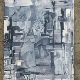 Luise Andersen: 'stage 14', 2017 Acrylic Painting, Abstract. Artist Description: Nov. 16,2017- picture of artwork in progress taken at 4p. m. in my backyard. I like the light , overcast somewhat, that shows the Payne s Gray hues real nice. . other times of day, hues often appear black, or charcoal . . which is deeper , beautiful too. .  still layer light ...