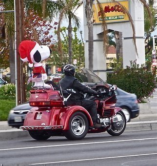 Luise Andersen: 'there is often the  NOW  Biker Caravan II', 2012 Color Photograph, Cityscape.  . . love Snoopy. . and here . . . . in Seasons mood. . and 'dress. . plus on this hot Motor Bike. . is most certainly special : )- - - - - - - - - - - - - - - - - - - - - - - - - - - - - - - - - - - - - - - - - - - - - . . . on way back to residence. . beautiful sunny and cloudy morning. . and heard this' Thunder' . . so familiar to my ears. . and there they came. . . . . so cool bikes : ) and what a great presence...
