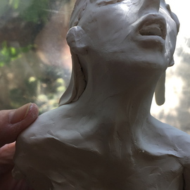 Luise Andersen: 'to sculpt feel raw emotion I', 2015 Clay Sculpture, Abstract. Artist Description:   July 16 2015 - - is like a fraction of surrender of own essence. .this is today's expression in white clay. . that is from clay of previous head. .this one will be but a fleeting feel. . intense and strong. .do not know. . nor do I wish to. . how it ...