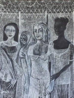 Luise Andersen: 'work5 on discipline', 2018 Charcoal Drawing, Other. Artist Description: March 11,2018- see these visages within white behind the figures and none of them spelled happiness to me. . thought of nightmares. good thing is to keep them at distance- created dream catcher for them. smiiile to myself. maybe. i should do some fiber art again. . huuummmm. . . ...