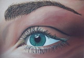 Kristen Temple: 'Hypnosis', 2003 Oil Painting, Optical.  Close- up of eye ...