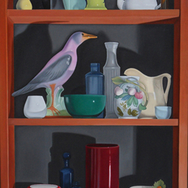 Laura Shechter: '22 Objects', 2000 Oil Painting, Still Life. Artist Description:  3 shelves of still life objects in a bookcase, bowls, creamers. .   ...