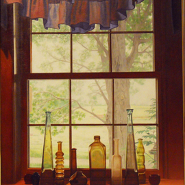 Laura Shechter: 'Black Lotus Tree', 2011 Oil Painting, Still Life. Artist Description:   farm view through window, glass objects, early morning light  ...