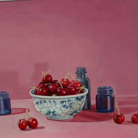 Laura Shechter: 'Bowl of Cherries', 2002 Oil Painting, Still Life. Artist Description:  cherries, bowl red, oil on paper blue glass objects     ...