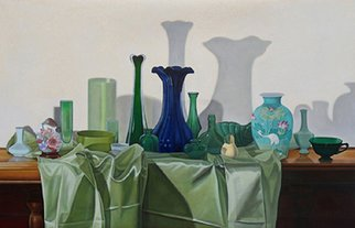 Artist: Laura Shechter - Title: Composition in Green - Medium: Oil Painting - Year: 2010