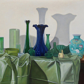 Laura Shechter: 'Composition in Green', 2010 Oil Painting, Still Life. Artist Description:  green stilll life objects, green cloth ...