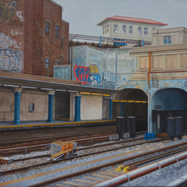 Laura Shechter: 'New Utrech Station', 2012 Oil Painting, Cityscape. Artist Description:    grafitty subway station, patterns, Brooklyn  ...
