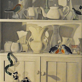 Laura Shechter: 'Still Life with 4 Birds', 2008 Oil Painting, Still Life. Artist Description:  3 shelves in a white cabinet, white objects, white cabinet          ...